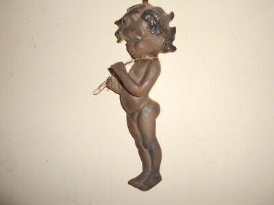 BROWNIE DOWNING child & wire WALL PLAQUE Australian vintage pottery hanging old