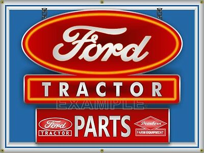 Ford Tractor Dealer Parts Dearborn Equipment Printed Banner Sign Art 4' X 3'