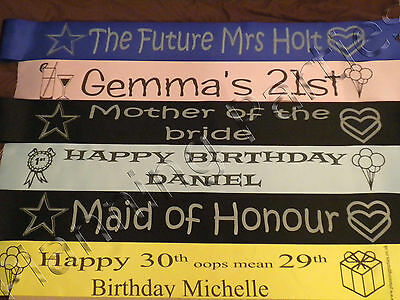 Personalised Sash Hen Party Night Accessories, Single or Double Sided Print