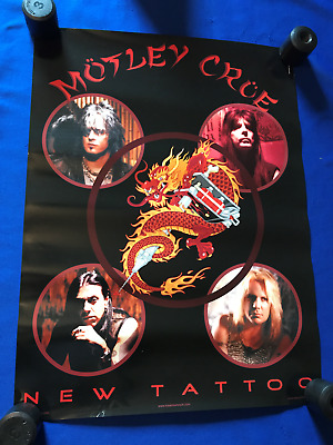 vintage 2000 Motley Crue New Tattoo PROMO POSTER Randy Castillo Ozzy 18x24in