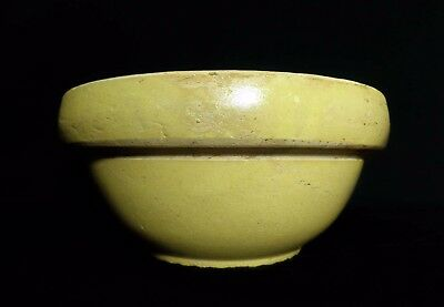 Antique American Early 20Th C. Yellow Ware Ceramic Mixing Bowl W/plain Sidewalls