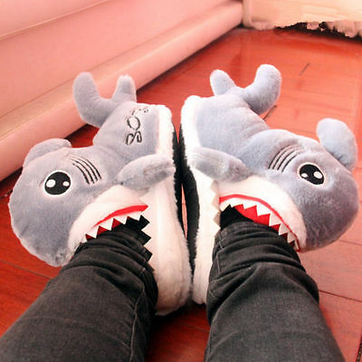 Winter New cute cartoon shark cotton slippers warm Personality couples slippers