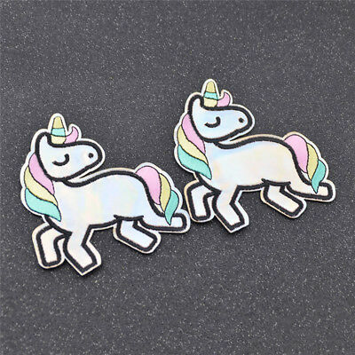 2 Pcs DIY Unicorn Embroidery Applique Iron on Patch Clothes Bag Hat Sewing Craft