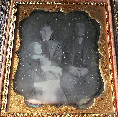 Antique Daguerreotype Of Family In Embossed Case, Possibly Postmortem
