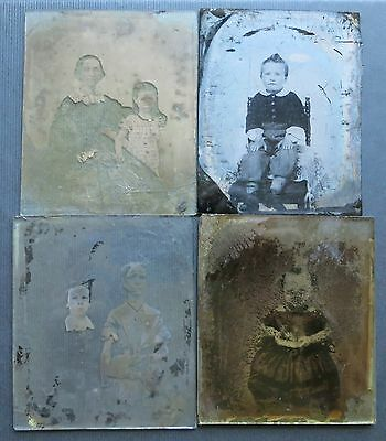 4 Antique Ambrotypes With Children Images