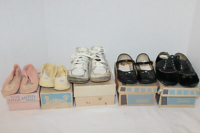 Lot of 5~VINTAGE~Baby~Little GIRLS Shoes~FELT Booties~PENNEY'S~Tiny Titan~BUTLER