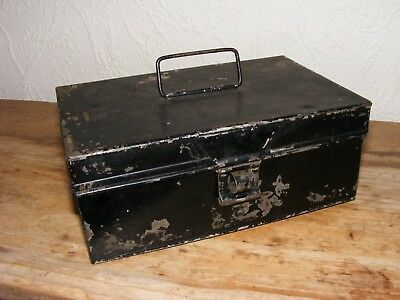 Vintage Deed Metal Box Hasp Closure Black Paint Tatty