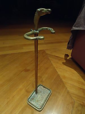 1920ca ANTIQUE VINTAGE SOLID BRONZE UMBRELLA STAND HORSE HEAD COUNTRYSIDE