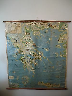 Antique Vintage Pull Down Roll Down Mythology Map Ancient Greece Huge Pictorial