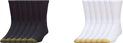Gold Toe Cushioned Cotton Crew Socks, Assorted Colors, 6 Pairs