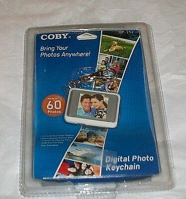 """New Sealed COBY Digital Photo Keychain DP-151 White Holds 60 Color Display 1.5"""""""