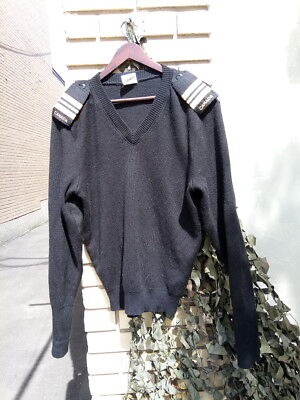 CANADIAN Forces Navy Black WOOL SWEATER SIZE 40 Medium with Shoulder Ranks