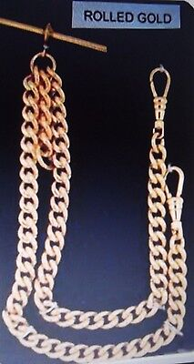 Stunning Rolled Yellow Gold Double Albert Chain 4 Pocket Watch Hvy Christmas