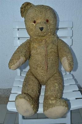"""old vtg antique Teddy Bear Toy straw jointed mohair ? European 72cm 28"""" big tall"""
