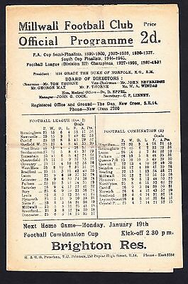 Football Programme Millwall v Bradford Division 2 17 January 1948