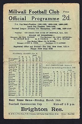 Football Programme Millwall v Plymouth Division 2 13 March 1948