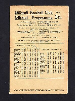 Football Programme. Millwall v Fulham. Division 2. 14 June 1947
