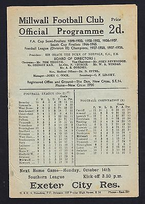 Football Programme. Millwall v Bury. Division 2. 12 October 1946