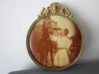 """Antique 6"""" Round Convex Picture - Woman with a Horse - Repousee Top Decoration"""