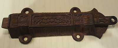 "Large 7"" Antique Eastlake Victorian Cast Iron Spring Loaded Pull Door Latch Lock"