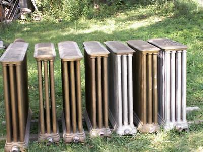 7 antique Cast Iron Steam Radiators Pipe & Grill Metal Tops farm house heat