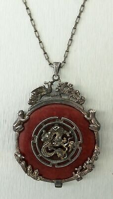 Antique Estate 925 Sterling Silver Chinese Red Jade Dragon Pendant Necklace