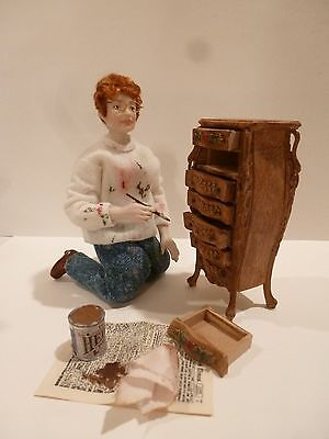 Miniature Lady Doll Painting A Dresser By Fern Vasi