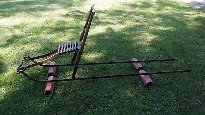 """Antique 90"""" TYRGG Wood Wooden and Iron Primitive Dog Sled"""