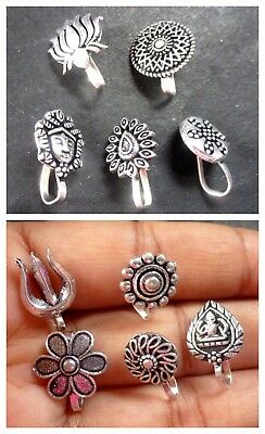 Antique Silver Plated Oxidized 5 Different Design All Purpose Push Nose Stud Pin