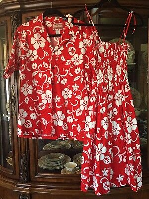 Couple Matching Hawaiian Luau Outfit XL Dress Large Shirt-red And White