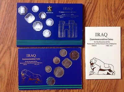 IRAQ 1982 Commemorative Coins,Restoration City of Babylon.Case + COA