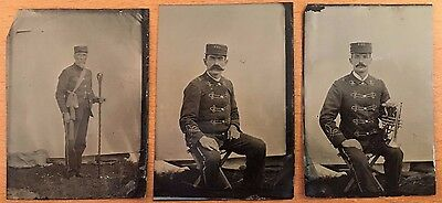 CIVIL WAR ERA OFFICERS MARCHING BAND 3 MUSICIANS TINTYPES Cornet Baton MILITIA?