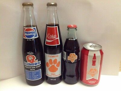 Clemson Coca Cola 1981 2106 & Pepsi 1974 Bottles and Cans National Champions