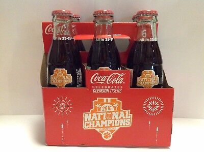 6 Pack Clemson Tigers Coca Cola Coke Glass Bottles 2016 National Champions