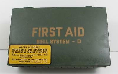 1960's Pacific Telephone & Telegraph Bell System-D Metal First Aid Kit FULL PT&T