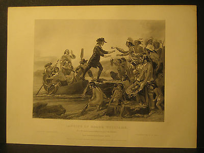 Roger Williams Landing by Alonzo Chappel Engraving 1857