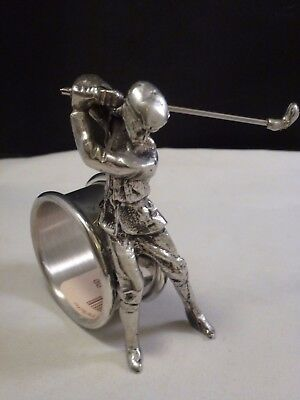 Victorian Style  Napkin Ring Silver Plate  Golfer  Hard To Find