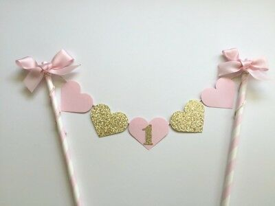 Pink Gold  Baby Girl 1st Birthday Cake Topper Banner Showers  Decorative Party