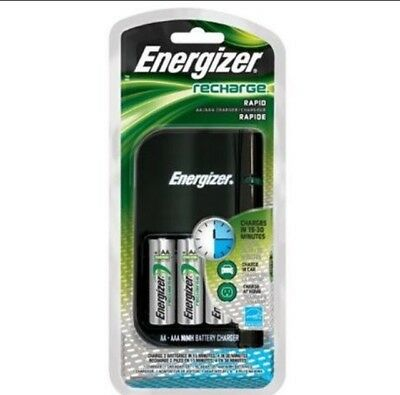 Energizer Recharge Rapid Charger CH15MNCP4 with 4 AA Batteries, Car/AC Adapter