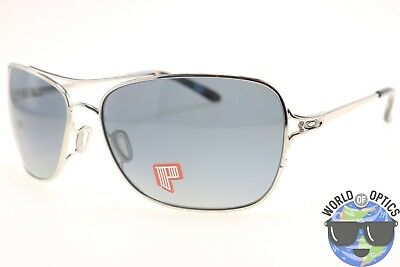 Oakley Women's Sunglasses OO4101-06 CONQUEST Polished Chrome w/Grey Polarized