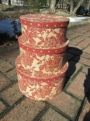 Hat Box Set 3 Round 18Thc Colonial Repro Paperboard Red Toile Storage Nesting