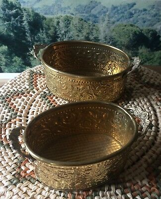 Pair of Brass Planters / Containers with Handles.  Vintage / Boho
