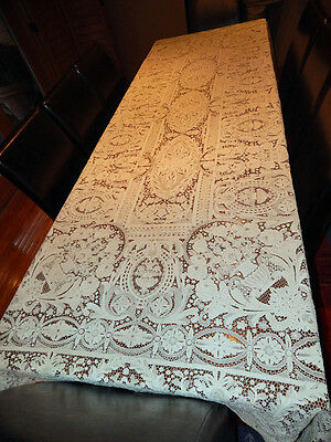 Extraordinary Heirloom Point de Venice Lg Tablecloth Urns Flowers Ex Cond