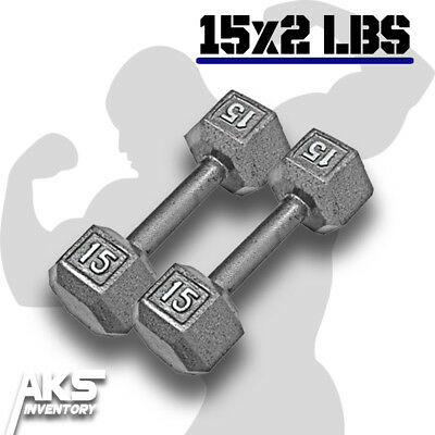 Pair of 15 Pound Cast Iron Hex Dumbells Home Gym Exercise Workout Free Weights