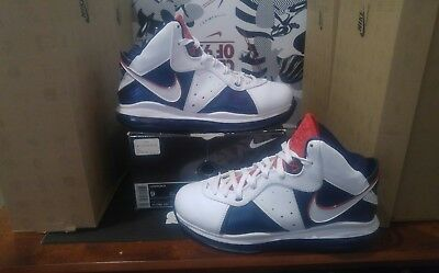 low priced ed4fe 165b6 2010 Nike Lebron VIII Veterans Day White Blue Red USA Olympic 8 Sz 9 417098  100