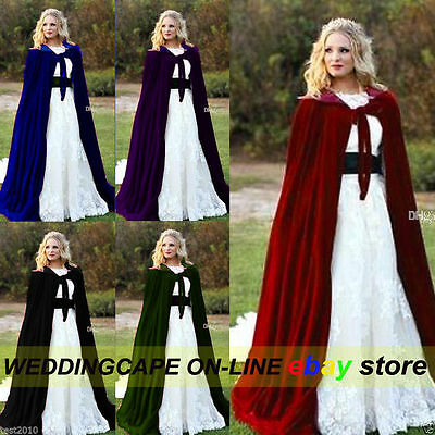 Halloween Velvet Hooded Cloak Medieval Cape Witchcraft Wicca Robe Larp Gothic