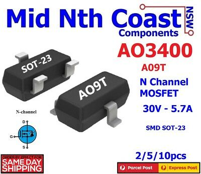 2/5/10pc AO3400 A09T 30V-5.7A SOT23 MOS N-Channel MOSFET SMD