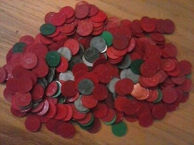 Huge Lot Of Missouri Sales Tax Tokens Red, & Green Plastic And Metal 400+