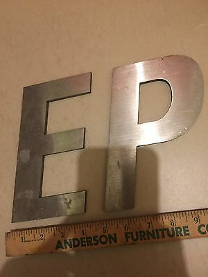 "Stainless Steel Sign Letter Lot 2 Letters ""P"" & ""E"" Old Vintage Industrial Metal"