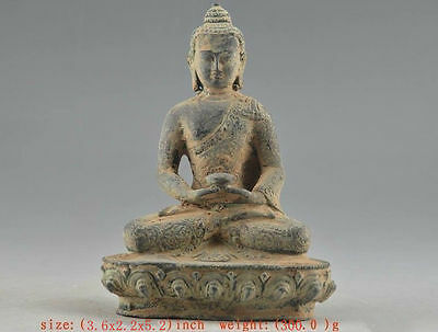 Chinese Old Bronze Collectable Handwork Carved Buddha Statue H 13.0cm